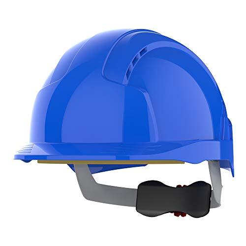 Kask ochronny EvoLite JSP – niebieski, wentylowany, daszek średni, regulacja pokrętłem AJB170-000-500