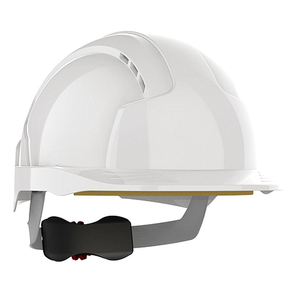 Kask ochronny JSP EvoLite Linesman – biały, niewentylowany, daszek mikro, regulacja pokrętłem AJC240-000-100