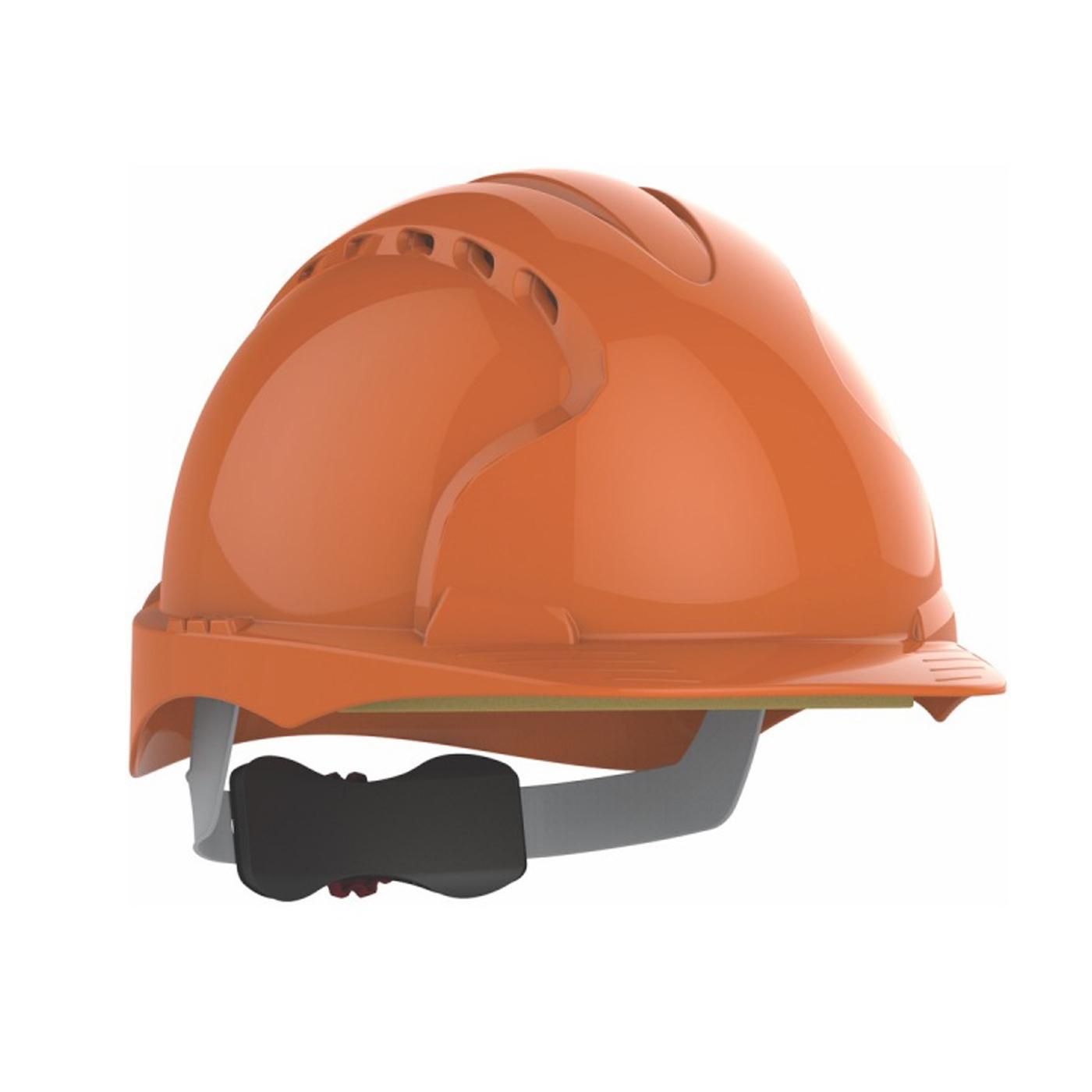 Kask ochronny JSP – pomarańczowy, wentylowany, średni daszek, regulacja pokrętłem AJF170-000-800 EVO3