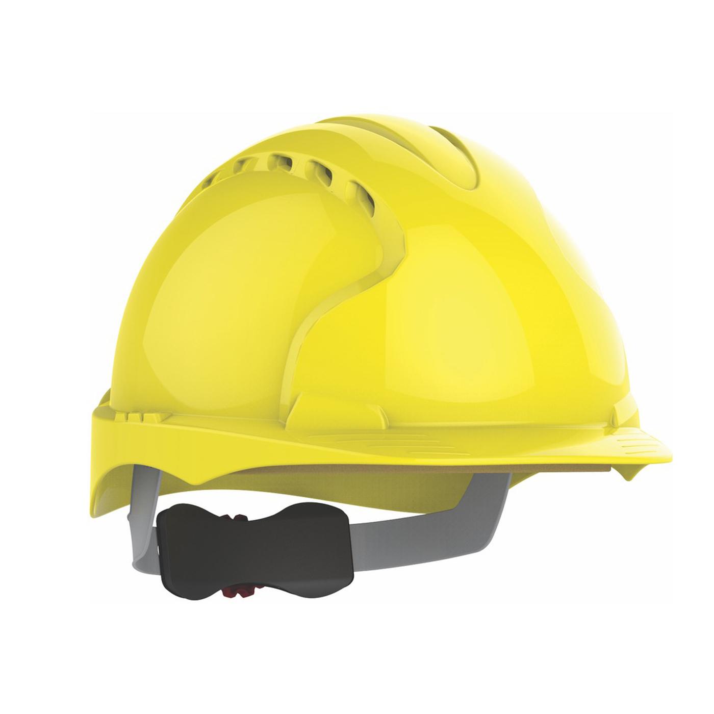 Kask ochronny EVO3 JSP – żółty, wentylowany, średni daszek, regulacja pokrętłem AJF170-000-200