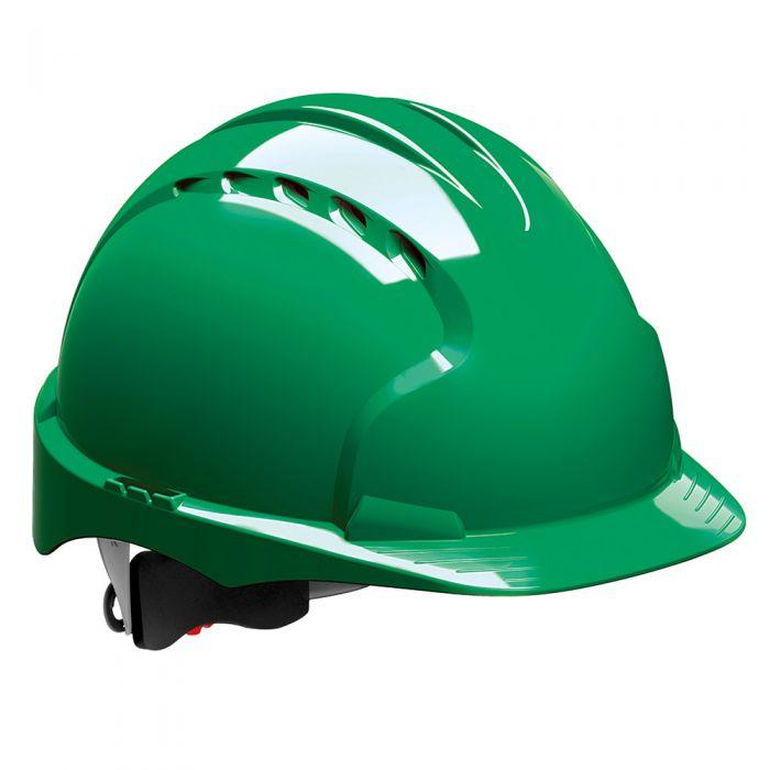 Kask ochronny EVO3 JSP – zielony, wentylowany, średni daszek, regulacja pokrętłem AJF170-000-300