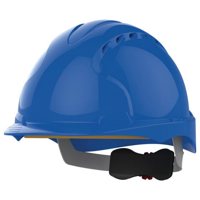 Kask ochronny JSP EVO3 – niebieski, wentylowany, średni daszek, regulacja pokrętłem AJF170-000-500