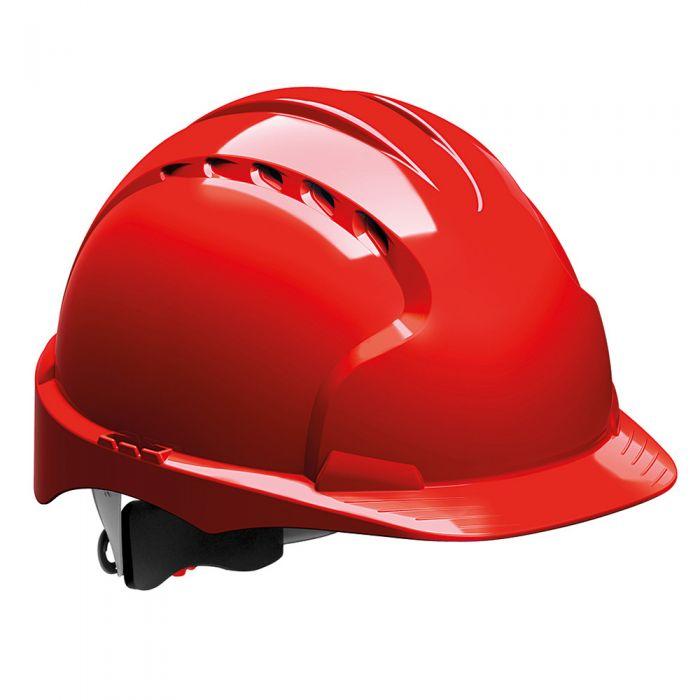 Kask ochronny EVO3 JSP – czerwony, wentylowany, średni daszek, regulacja pokrętłem AJF170-000-600
