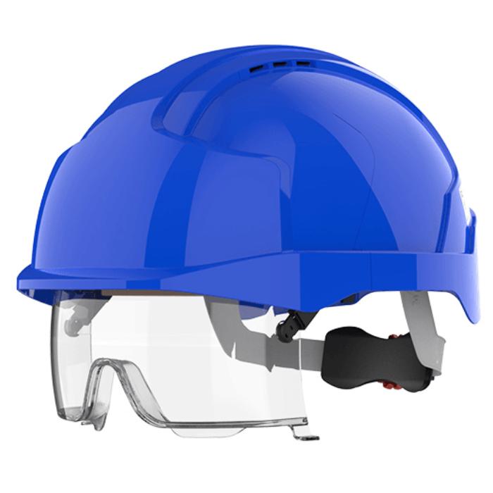 Kask ochronny JSP EVO® VISTAlens™ – niebieski, wersja wentylowana AMB170-006-F00