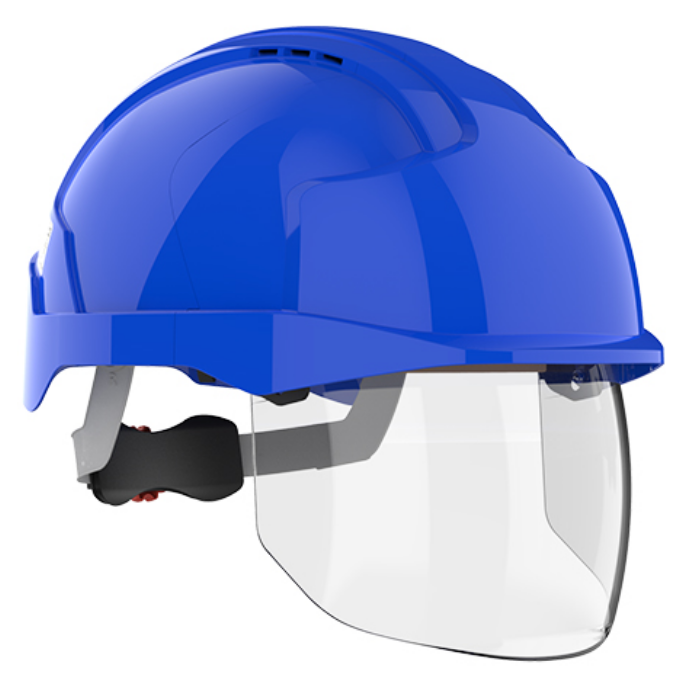 Kask ochronny JSP EVO® VISTAshield ™ – niebieski, wersja wentylowana AMD170-006-F00