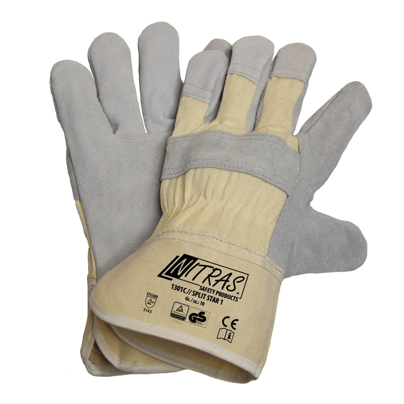 Rękawice skórzane Nitras 1301C/ SPLIT STAR 1