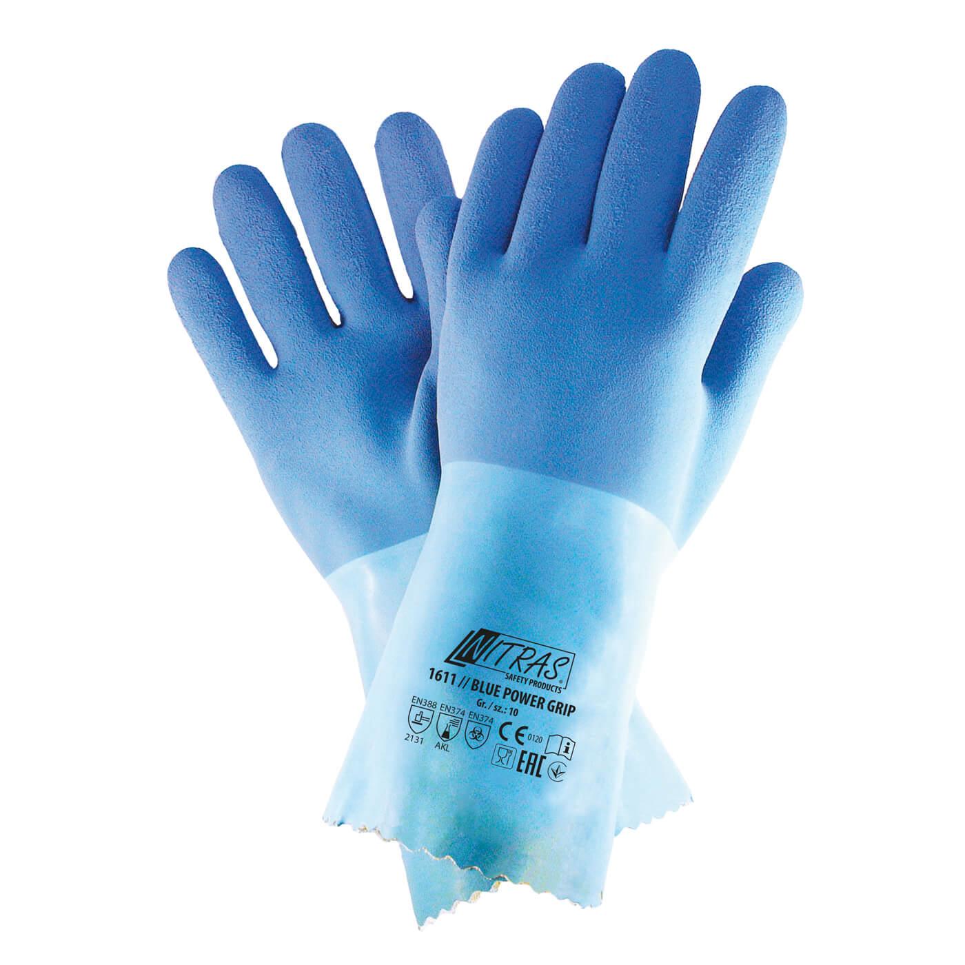 Rękawice chemiczne Nitras 1611/ BLUE POWER GRIP