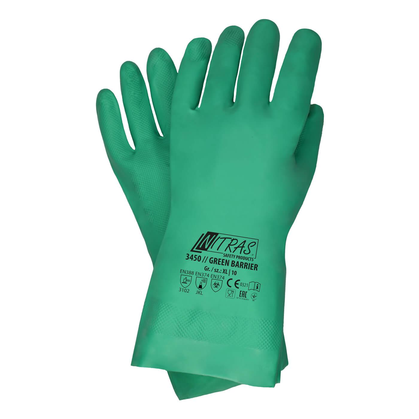 Rękawice chemiczne Nitras 3450/ GREEN BARRIER
