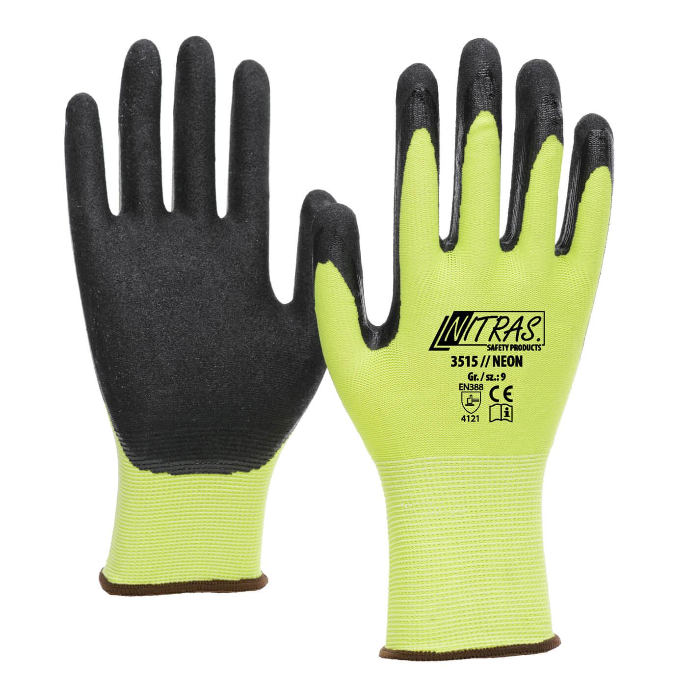 Rękawice montażowe Nitras 3515/ NEON